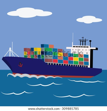 Cargo ship loaded with containers sailing vector illustration - stock vector