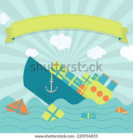 Cargo ship sinking. Cute cargo ship sinking. Packages and goods floating on the sea. Blank ribbon for insert text. - stock vector