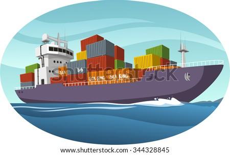 Cargo Ship vector cartoon illustration - stock vector