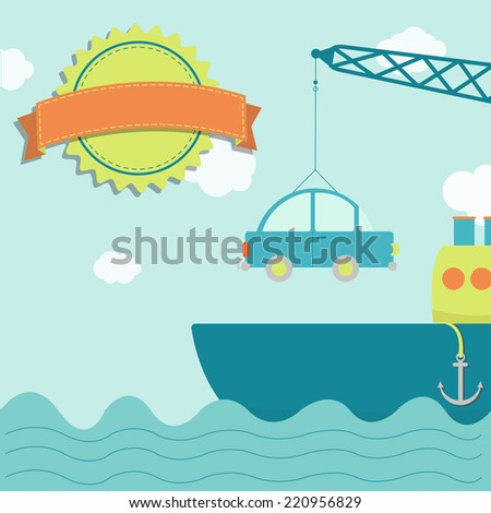 Cargo ship with car. Crane loading car into the freighter. Blank stamp for insert text. - stock vector