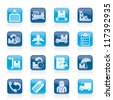 Cargo, shipping and delivery icons - vector icon set - stock vector