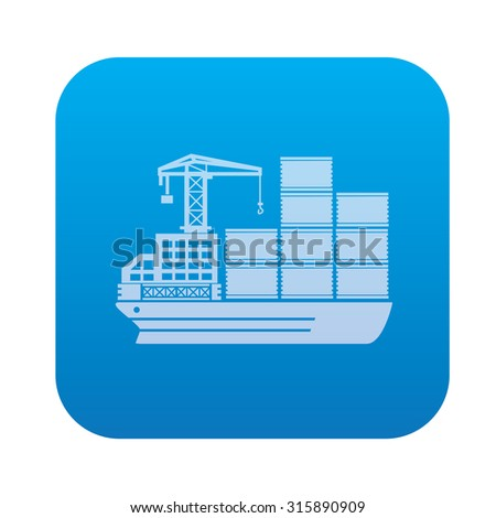Cargo, shipping boat icon on blue button background,clean vector - stock vector