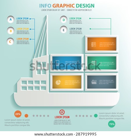 Cargo,Shipping boat info graphic design, Business concept design. Clean vector. - stock vector