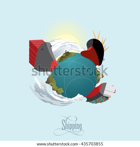 Cargo ships on the route. Commercial vessel. Worldwide delivering concept. Vector illustration - stock vector
