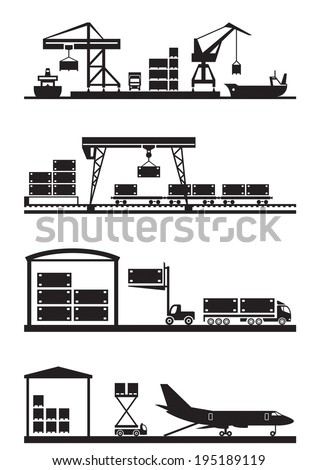 Cargo terminals icon set - vector illustration - stock vector