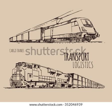 Cargo trains - stock vector