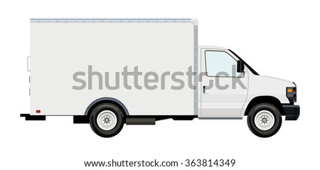Cargo transportation by car, moving van, on a transparent background - stock vector