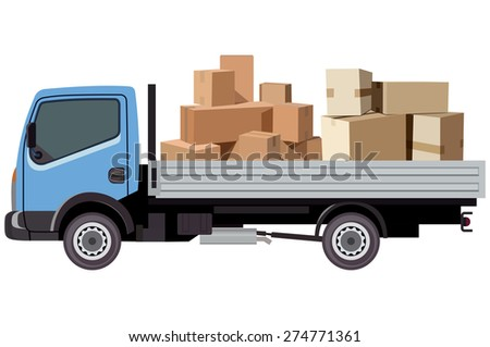 Cargo transportation by car on a white background - stock vector