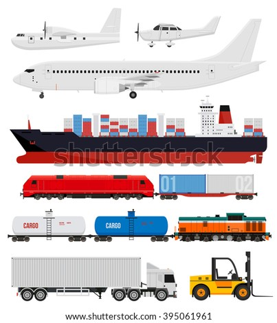 Cargo transportation by train, trucks, ships and airplanes. Flat style icons and illustration. - stock vector