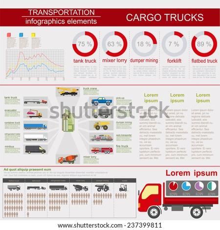 Cargo transportation infographics, trucks, lorry. Elements infographics.  Vector illustration - stock vector