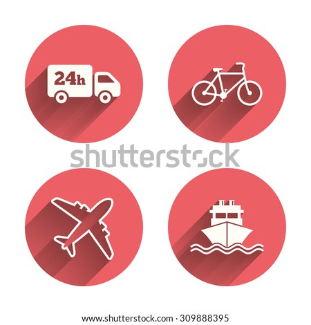 Cargo truck and shipping icons. Shipping and eco bicycle delivery signs. Transport symbols. 24h service. Pink circles flat buttons with shadow. Vector - stock vector