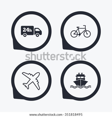 Cargo truck and shipping icons. Shipping and eco bicycle delivery signs. Transport symbols. 24h service. Flat icon pointers. - stock vector
