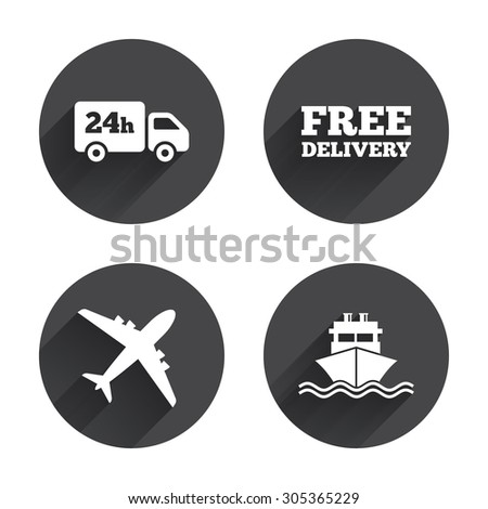 Cargo truck and shipping icons. Shipping and free delivery signs. Transport symbols. 24h service. Circles buttons with long flat shadow. Vector - stock vector