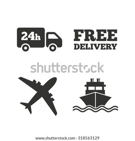 Cargo truck and shipping icons. Shipping and free delivery signs. Transport symbols. 24h service. Flat icons on white. Vector - stock vector