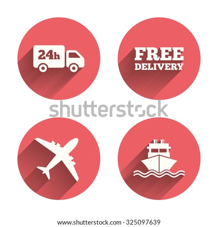 Cargo truck and shipping icons. Shipping and free delivery signs. Transport symbols. 24h service. Pink circles flat buttons with shadow. Vector - stock vector