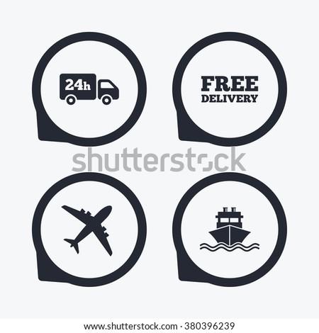 Cargo Truck Shipping Icons Shipping Free Stock Vector 305365229 ...
