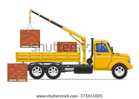 cargo truck delivery and transportation of construction materials concept vector illustration isolated on white background - stock vector