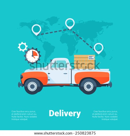 Cargo Truck. Delivery Service Concept. Flat Style with Long Shadows. Clean Design. Vector Illustration. - stock vector