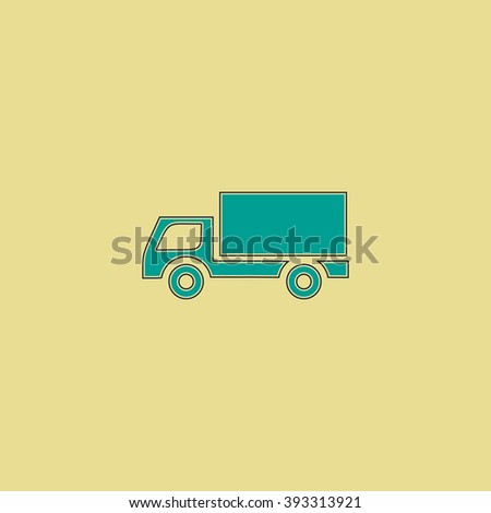 Cargo truck Flat line icon on yellow background. Vector pictogram with stroke - stock vector