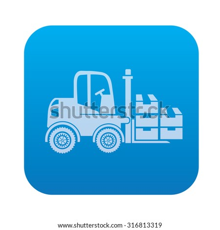 Cargo,truck,industry icon on blue background,clean vector - stock vector