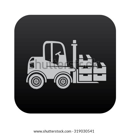 Cargo,truck on black button blackboard,vector - stock vector