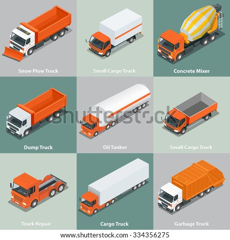 Cargo Truck set icons. Snow Plow Truck, Small Cargo Truck, Concrete Mixer, Dump Truck, Oil Tanker, Garbage Truck.  Flat 3d isometric high quality city service transport.  - stock vector