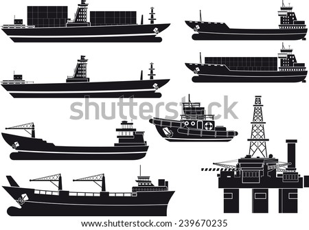 cargo Vessels tugboat and oil platform isolated on white background - stock vector