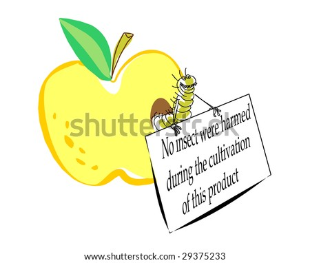 Caricature a joke the image of the certificated apple with a worm