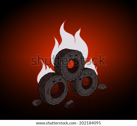 Caricature burning barricades of tires. Blazing tires protest. - stock vector