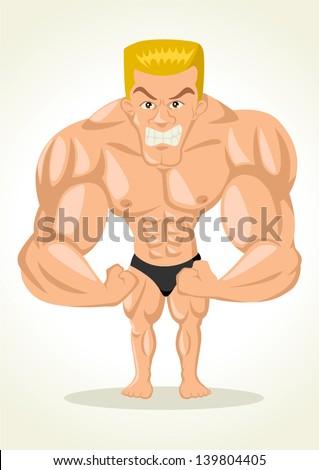 Caricature illustration of a bodybuilder - stock vector