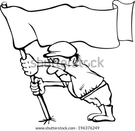 Caricature of a man holding a flag in his hands. Without a white background - stock vector