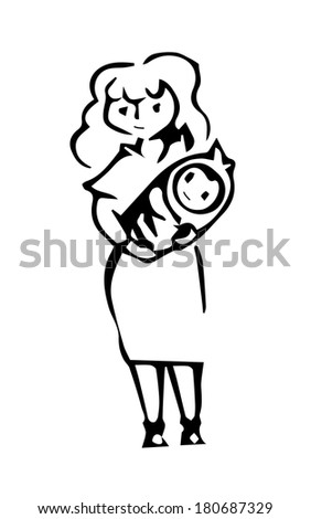 caricature of a mother with a baby