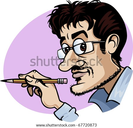 Caricature of a smiling cartoonist holding a yellow pencil - Cartoon style - stock vector