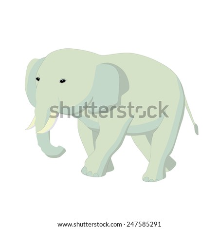 Caricature of an  elephant walking and looking away. Editable vector illustration. - stock vector