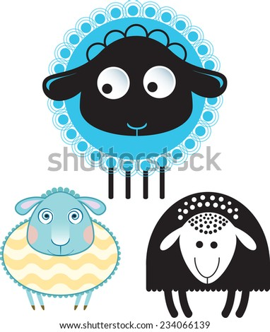 Caricature of sheep and ram. Option in color and the silhouette version. - stock vector