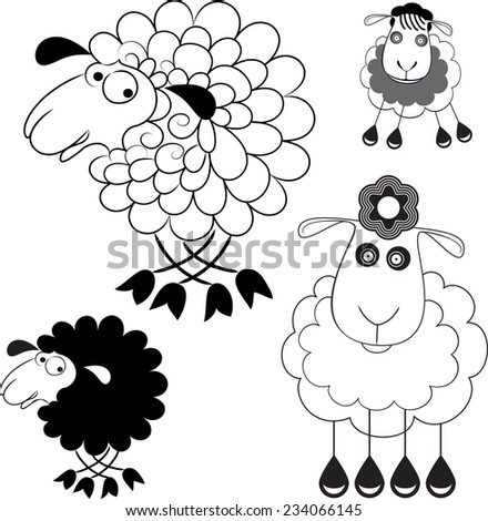 Caricature of sheep. Option Line and the option the silhouette. - stock vector