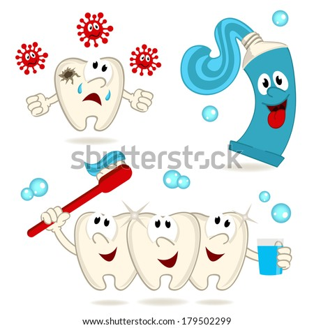 caries tooth toothpaste and  toothbrush -  vector illustration - stock vector