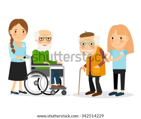 Caring for seniors, helping moving around and spending time together. Vector illustration. - stock vector