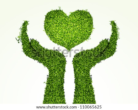 caring for the environment, arms out of the grass with his heart. The concept of ecology - stock vector