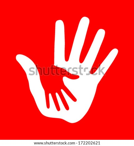 Caring hand on red background, vector illustration  - stock vector