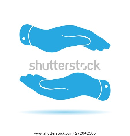 caring hands icon - protecting vector illustration - stock vector