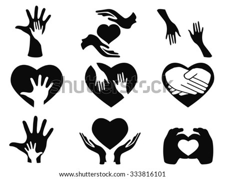 caring hands icons set