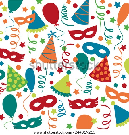 Carnival and party decorations pattern - stock vector