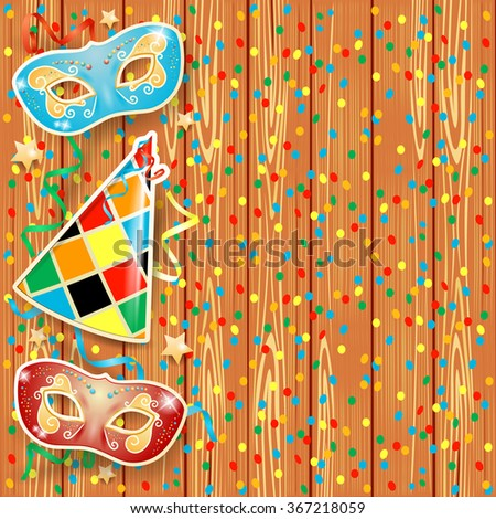 Carnival background with masks and hat, vector illustration  - stock vector