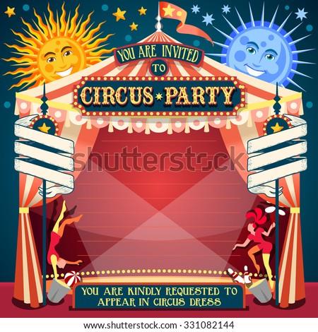 Carnival Circus Tent Invite Fair Template Stock Vector 331082144 ...