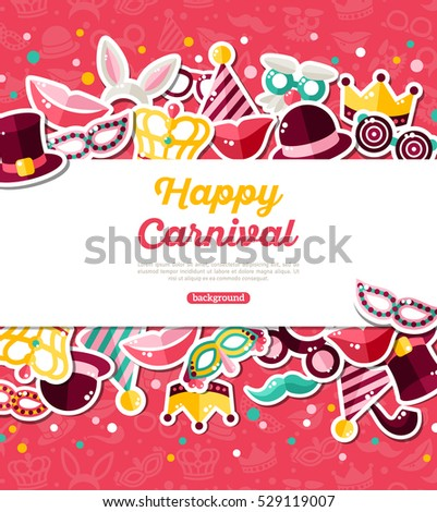 Carnival Concept Banner Icons Stickers On Stock Vector ...