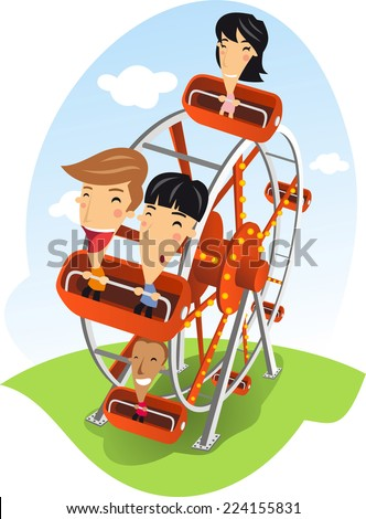 Carnival Ferris wheel Amusement Park cartoon illustration - stock vector