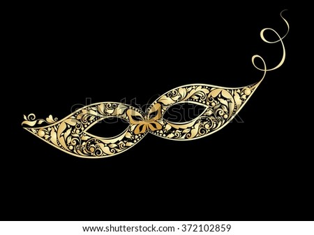 Carnival golden vintage mask with floral pattern - stock vector