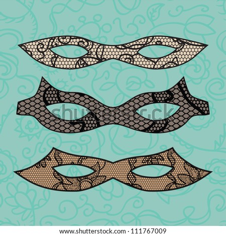 Carnival lacy mask set. Vector illustration - stock vector