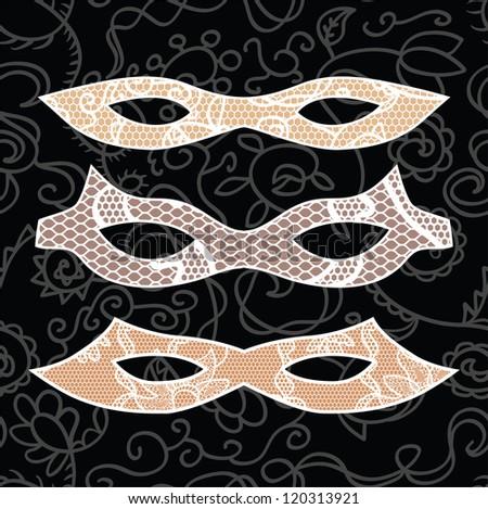 Carnival lacy mask set. Vector illustration - stock vector